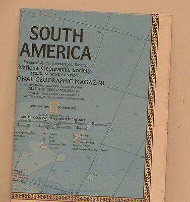 Vintage 1972 National Geographic Map of South America