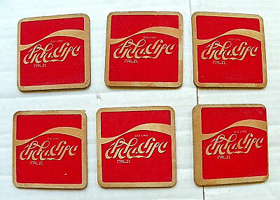 "(Lot Of 6) Israeli ""coca-Cola"" With Wave Square Coasters"