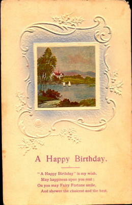 Postcard A Happy Birthday embossed 1910 Postmark