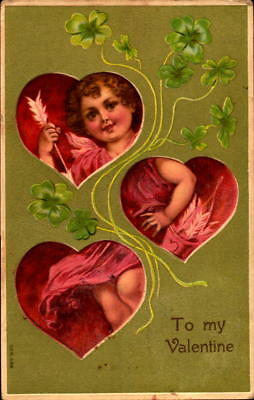 Postcard To My Valentine Cupid embossed 1910 Postmark
