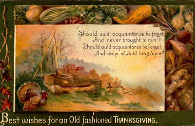 Postcard Best Wishes for Old Fashioned Thanksgiving embossed 1910 Postmark