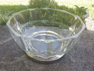 Vintage Lead Crystal Bowl Silver Plate Pedestal Ribbed Candy Dish 8.75 x 4.75
