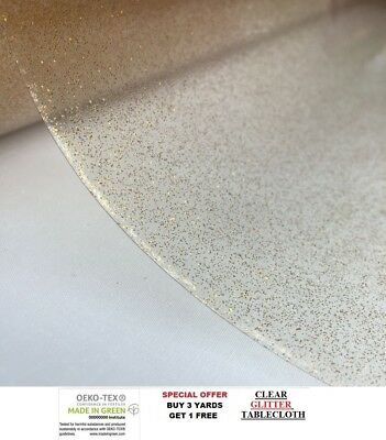 Gold Glitter Clear Plastic Waterproof Tablecloth Protector Vinyl PVC Fabric