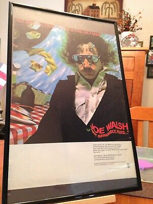 "2 FRAMED JOE WALSH ""BUT SERIOUSLY, FOLKS!"" LP ALBUM CD PROMO ADS - 2 sizes!"