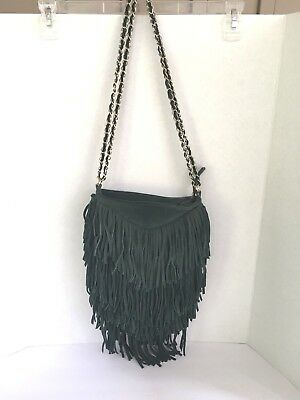 52d31329e Urban Outfitters Ecote Layered Suede Fringe Purse with Chain Strap-Dark  Green