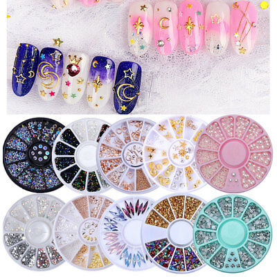 Crystal Rhinestones Nail art Pick Silver Gold Beads Pearls Mixed Studs Manicure