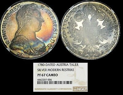 NGC PF67 Cameo Colorfully Toned 1780 Austria Maria Theresa Thaler Restrike Proof
