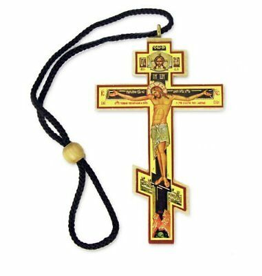 Authentic Russian Orthodox Cross Wood Crucifix Icon on Rope Cord Home Chapel 3