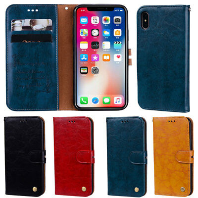 Retro Flip Wallet Leather Case Cover For iPhone XS Max XR 5S SE 6 6S 7 8 Plus X