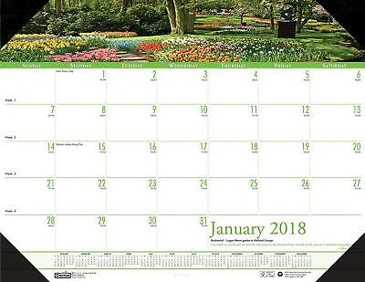 House of Doolittle 2018 Monthly Desk Pad Calendar, Earthscapes Gardens, 22 x 17