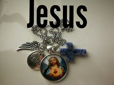 Code 371 Jesus sodalite charged crucifix cross Infused Necklace Catholic school