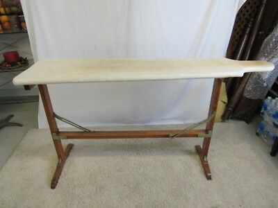 Fancy Antique Wood Folding Ironing Board w/Wool Covering Lacquered Brass - ANTIQUE WOOD IRONING Board,Step Ladder, Chair - $18.00 PicClick