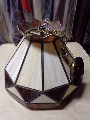 Vintage Slag Glass Stained Glass Hanging Lamp Shade