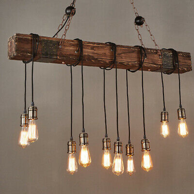 Industrial 10 Light Antique Farmhouse Wood Beam Island Hanging Ambient Lighting