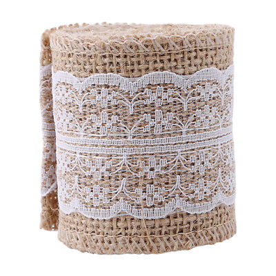 Burlap Natural Hessian Ribbon With Lace Trim Edge Wedding Christmas Decor B