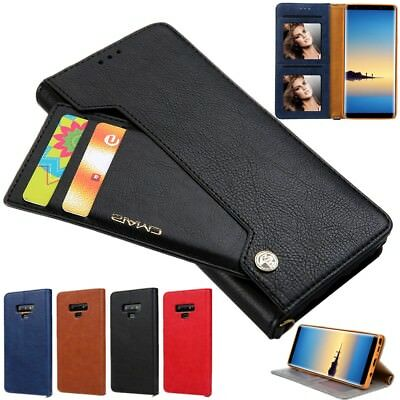 Leather Magnetic Flip Wallet Case Cover Holder for Samsung Galaxy S10 Plus S9 S8
