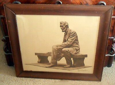 "Scarce Antique 1912 Prang Lithograph ""Seated Lincoln Statue"" Gutzon Borglum"