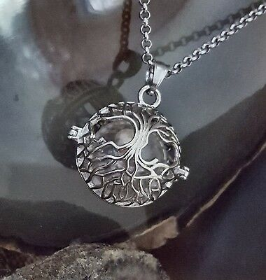 Silver Tree of Life Locket Pendant Cremation Ash Hair Necklace Small Urn