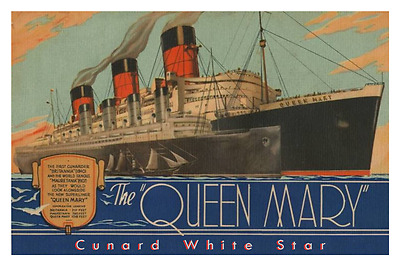 Queen Mary Comparisons Cunard White Star Line Poster 12 x 18