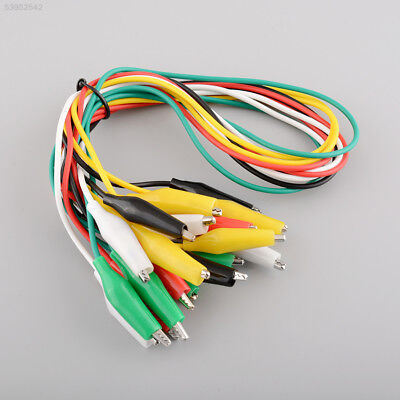 77DE 10pcs 50cm Double-ended Crocodile Clips Cable Clips Wire testing wire