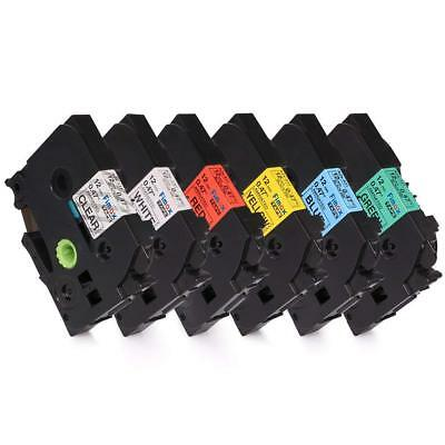 6PK Compatible Brother P-touch Label maker tape 12mm Colorful Standard Laminated
