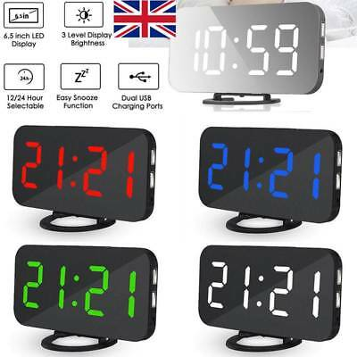 Digital LED Alarm Projection Clock Mirror Snooze Electric Time Thermometer Radio