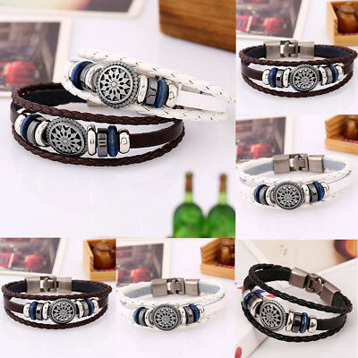 Black Skull Leather Men Women Tribal Beaded Cuff Wristband Bracelet 1pcs Set