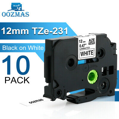 10PK Compatible Brother P-Touch Label maker Tape TZ TZe 231 Refill 1/2'' PTD210