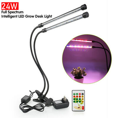 LED Grow Light Lamp 24W Dual Head Timing Dimmable Flexible Clip Desk Light Bar