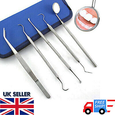 Dental Pick Floss Tartar Plaque Calculus Remover Tooth Scraper Mirror Scaler Kit