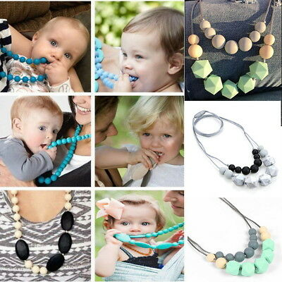 Teething Necklace Kid Baby Teether Autism Nursing Chew Silicone Pendant BPA Free