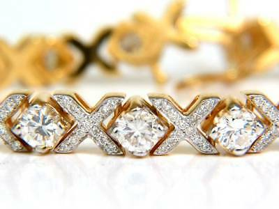 3.00 Ct Round Cut 14K Yellow Gold Over Womens XOXO Tennis Bracelet 7.5""