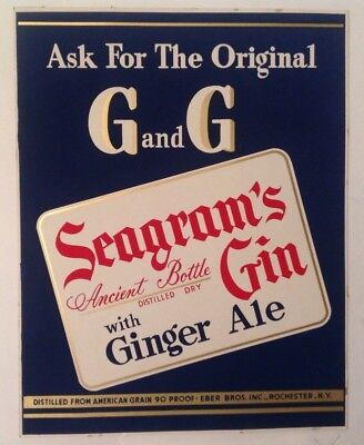 """vintage Seagrams Gin with Ginger Ale Cardboard Sign 11"""" x 14"""""""