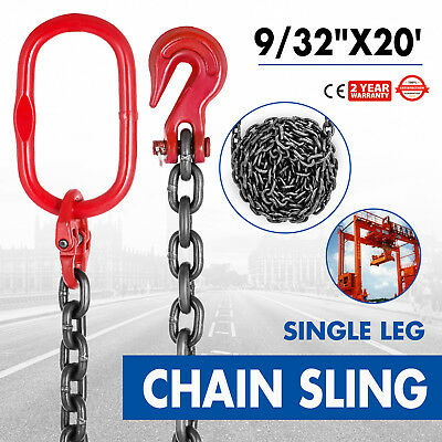 9/32 x20 GRADE 80 Chain Sling Single Oblong Hook Mining Building