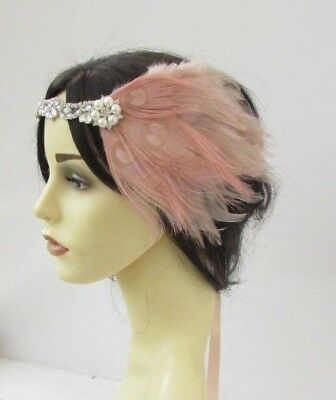 Blush Nude Light Pink Silver Feather Pearl 1920s Flapper Headband Headpiece 6193