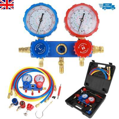 R134a Air Conditioning Refrigerant Manifold Gauge Set w/ 1.5m Charging Hoses UK