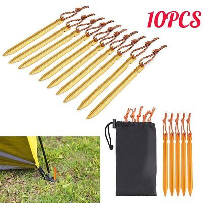 10x 18cm Aluminum Alloy Camping Trip Tent Peg Tent Nail Stakes Fixed Outdoor UK