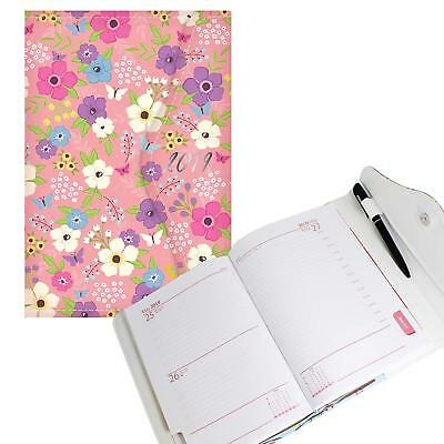 2019 Diary A6 Ladies Family Organiser Diary with Pen Floral Design Magnetic Clip