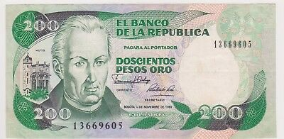 (N16-27) 1985 Colombia 200 pesos bank note (AB)