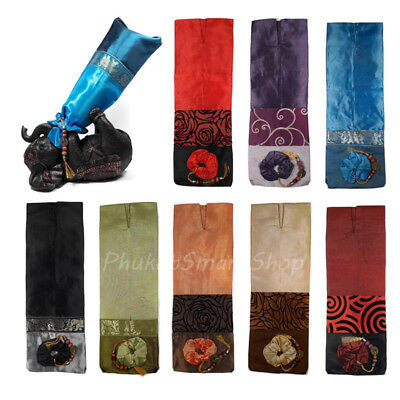 Thai Silk Wine Bottle Wrap Wrapped Cover Bags Leather Wicker Christmas Xmas Gift