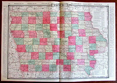 Iowa state by itself c.1880's large lithographed hand color old map