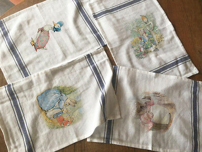 Peter Rabbit Set of 4 HERRINGBONE CLASSIC BLUE 29CMX44CM HAND TEA TOWEL CLOTH