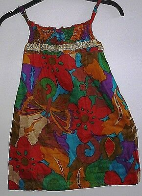 Girl's Cotton Sun Dress with Gold Sequin Trim- Multi Coloured- Age 4-5 yrs- NEW