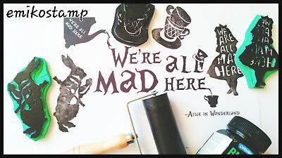 Alice in the wonderland unmounted rubber stamp linocut Pottery Textile Fabric
