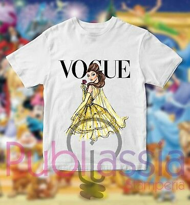 T-shirt Disney Princess Vogue BELLE Maglietta Principesse Idea Regalo Maglia