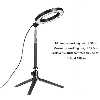 Dimmable LED SMD Ring Light Diffuser Mirror Stand Make Up Studio Light Black