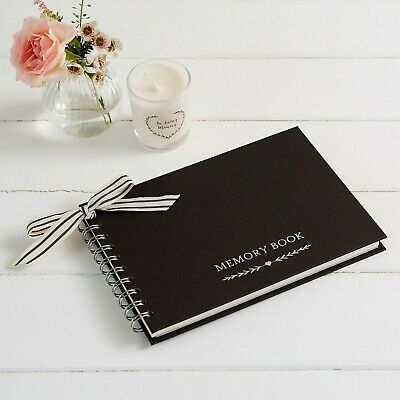 Luxury Black A5 Memory Condolence Book for Funeral, Celebration of Life