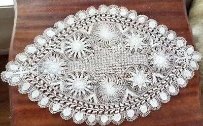 "Antique Teneriffe Lace Doily Table Scarf Stunning Centerpiece 11"" x 18 1/2"""