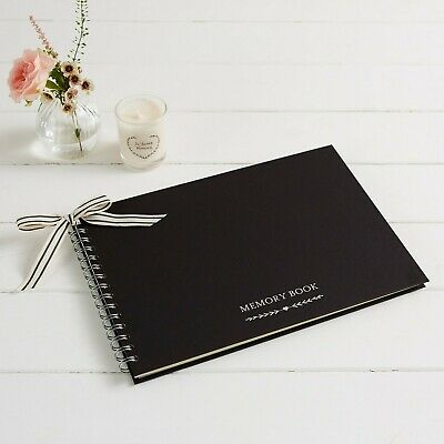 Luxury Black A4 Memory Condolence Book for Funeral or Celebration of Life