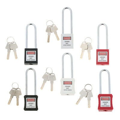 Safety Security Lockout Padlock Keyed Different with 2 Keys, Black White Red
